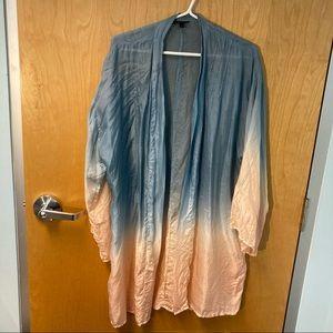 TOPSHOP 100% Silk Ombre Open Front Kimono Soft Flowy Comfortable Sz M